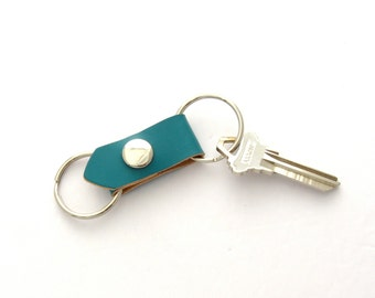 Blue Leather Valet Key Fob Southwest Silver and Turquoise Keychain Leather Key Ring 3rd Anniversary Gift Handmade Leather Key Fob