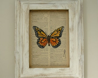 Butterfly Watercolor, Dictionary Page Art, Butterfly Block Print, Orange Butterfly, 1st Anniversary Gift, Monarch Butterfly Art