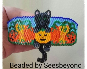 Midnight Kitty in the Pumpkin Patch, Black Cat, Beaded Barrette