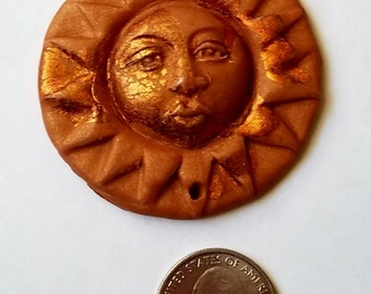 Polymer Clay Sun Pendant,  Destash Sale D-43