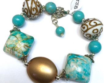 Big Bold Beautiful Turquoise Gold brown Silver Lampwork Lamp Work Bead Jesse James Beaded Bracelet