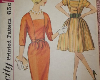 Mid Century Dress Pattern Simplicity 4532 Vintage 1950's Sewing Pattern