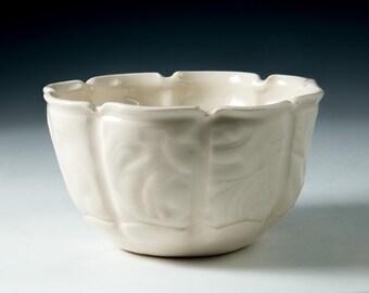 Gorgeous Handmade Embossed Porcelain Bowl Cereal, Soup, Salad, Serving