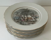 Set of four Avon collectible 1977 Currier and Ives Dessert Plates, The Old Gristmill