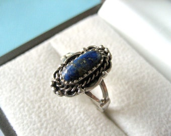 Navajo Sterling Silver and Lapis Lazuli Ring Size 6.5