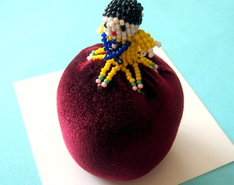 Vintage Zuni Beaded Pin Cushion Doll