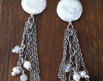 Sterling Silver Pearl & Moonstone Fringe Earrings