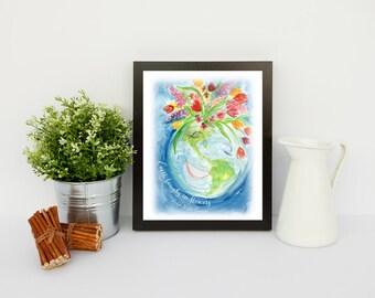 Watercolor Earth Art Print