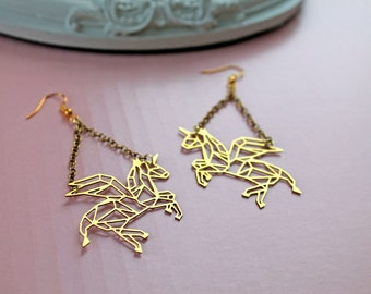 Golden flying Unicorn long earrings fantasy filigree geometric