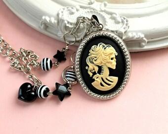 Lady Skeleton cameo  necklace Gothic lolita black ivory