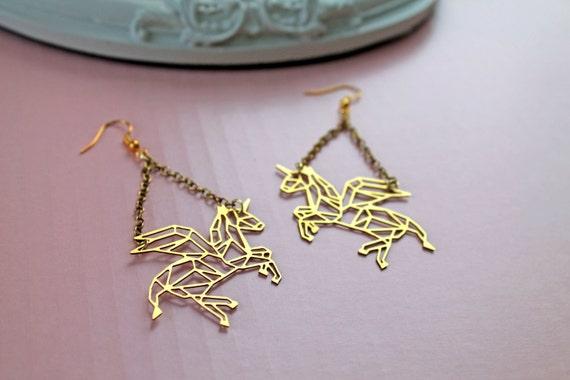 Golden flying Unicorn long earrings fantasy filigree geometric