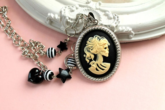 Lady Skeleton cameo  necklace Gothic lolita black ivory
