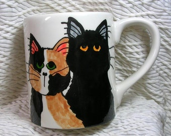 Calico & Black Cats Ceramic Mug Handpainted Original Design With Paw Prints GMS