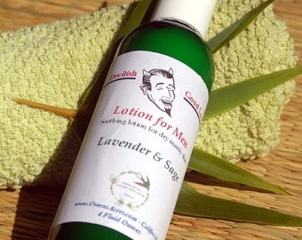 ALOHA SALE.... Lotion for Men - Dry Skin, Shaving, Gifts for Men, Father's Day, Unscented, Sage