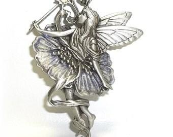 JJ Fairy Wand J.J. Jonette brooch pewter glitter vintage NOS