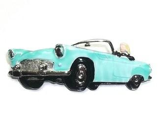 vintage Thunderbird Convertible JJ sports car pin brooch enamel Woman Driver Rare