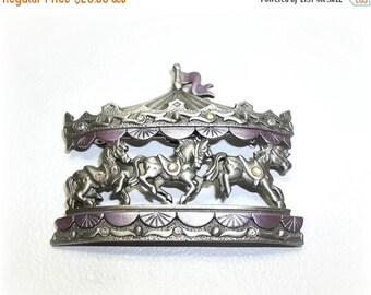 Carousel Merry Go Round Horses JJ pin Jonette brooch NOS