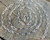 Bright Sterling chain USA MADE 12 inches long and short links 2.5mm x 2mm and 2mm X 5mm