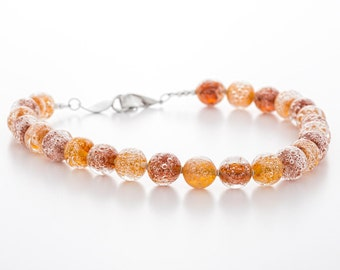 lampwork necklace, glass and silver, amber topaz colour, artisan glass jewelry