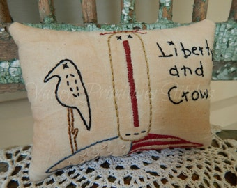 Americana Liberty and Crow Raggedy Anne Hand Stitched Pillow