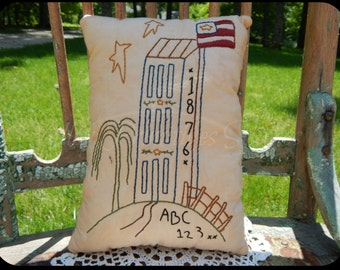 Hand Stitched Decorative Pillow, Americana, Saltbox, Patriotic, Red White Blue