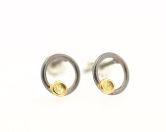 Lichen Circle Stud Post Earrings Sterling Silver 18 Karat Yellow Gold