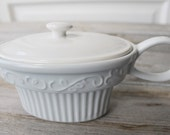 Heavy White Gravy Boat ,Ironstone pitcher, Holiday Dishes, Christmas Tablescape, Family Gatherings, Farmhouse Decor