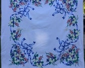 Reserve for JoEllen Vintage White with Blue, Red and Yellow Flowers and Ribbons Tablecloth