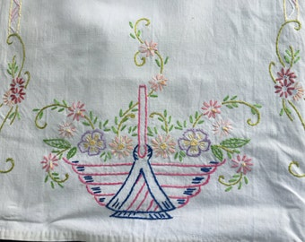 Vintage White Table Runner with Hand Embroidery Flower Baskets