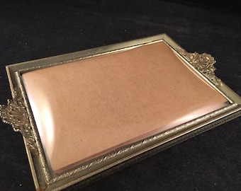 Vintage Ornate Gold Metal 5 x 7 Picture Frame or Tray