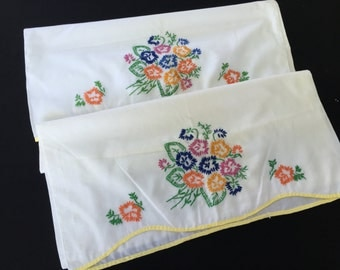 Pair of Vintage White Cotton Blend Pillowcases with Floral Embroidery
