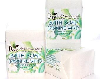 Jasmine Wind Soap with Wild Shea Butter  natural essential oil soap