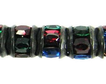 Rhinestone Rondelle, Jet Black, Multi Jewel Tone, 5 mm, 12 Pc. C492