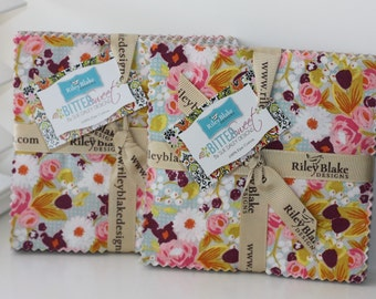 SALE 2 Packs - 5 inch charm fabric squares BITTERSWEET by Riley Blake from Sue Daley