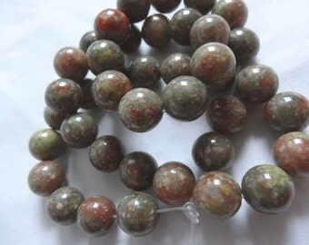 "15 1/4"" Strand Natural Autumn or Rose Jasper Stone Beads 9.75 to 10mm Round A906"
