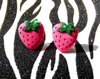Strawberry Earrings, Strawberry Studs, Pink Berry Kawaii Earrings, Miniature Food, Fruit Jewelry