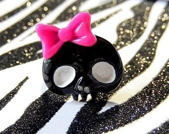 Girly Skull Ring, Pink Bow, Black Skeleton Adjustable Ring, Under 5