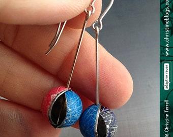 Antiqued Jewel Tones Globo -- Upcycled Tin Dangle Earrings