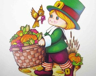 Vintage 1970s Cute Pilgrim Boy Owl Harvest Fruit Vegetables Die Cut Cardboard Thanksgiving Decoration by Beistle