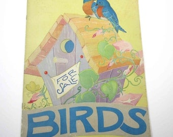 Birds Vintage 1940s Over Sized Children's Book by Saalfield Illustrated by Fern Bisel Peat