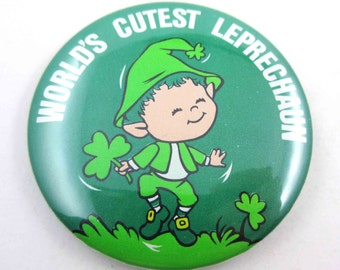Vintage 1980s St. Patrick's Day Pinkback Button with World's Cutest Leprechaun  by Russ Berrie