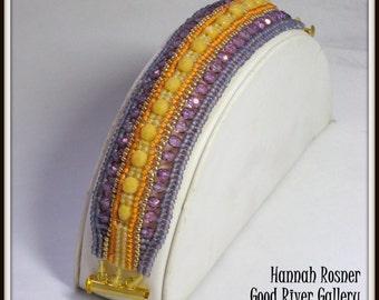CLEARANCE SALE - Wide Firepolish Crystal and Herringbone Beadwoven Sunset Bracelet by Hannah Rosner. EBW Team.