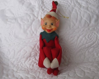 Vintage Knee Hugger Elf, Pixie,  Shelf Sitter,  red with green  Suit, 8 inch sitting Big , long nose Eyes, Japan, Circa 1960s