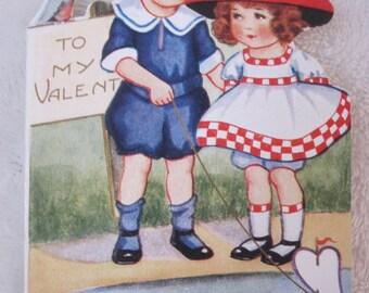 vintage Valentines Day card  girl and boy, 1930s, my valentine