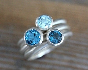 Size 6.5 Blue Topaz Ring Trio Gemstone and Solitaire Rings in Recycled Sterling Silver, Tarnish Resistant Birthstone Ring, Stacking Set,