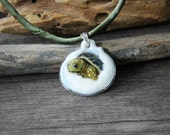 Cute baby sea turtle - fused glass pendant - unique art - glass jewelry