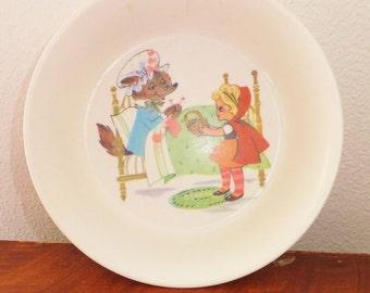 Vintage 1960's Oneida Deluxe Melamine Bowl Retro Children's 60's Fairytale Bowl Vintage Little Red Riding Hood Wolf Plastic Bowl Mid Century