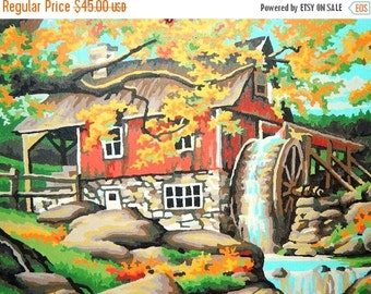 Valentines Day Sale 1960's Paint By Number, Farm House, Water Wheel, Brook, Fall Country Scene