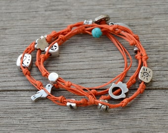 Orange Double Wrap Ties and Charms Anklet for Good Luck and Protection