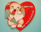 Vintage Valentine's Day Card with Howling Crying Puppy Dog